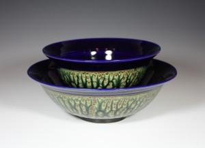 #2 Bowl Set White Stonware Ash Glaze