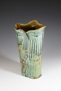 #3 Vase White Stonware Ash Glaze