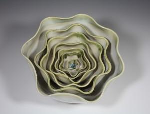 #4 White Stoneware Bowl Blossom Chun Glaze