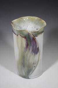 #5 Altered Vessel White Stoneware Chun and Copper overglaze